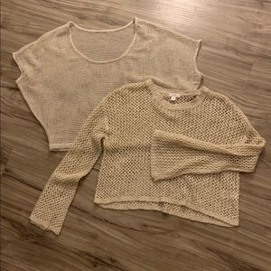 Tops - Nude cream open weave tops long and short sleeve